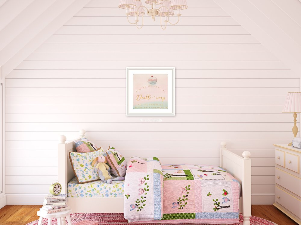 Adorable little girl's room wall art interior design