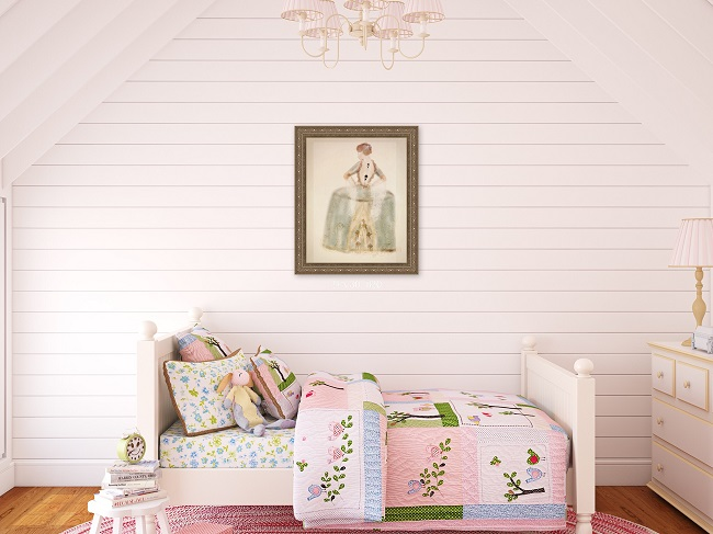 Ship lap girls bedroom
