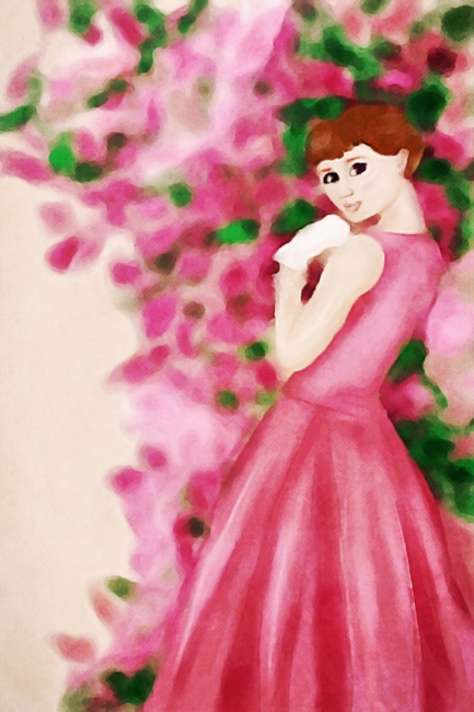Audrey Hepburn Watercolor Pink Dress