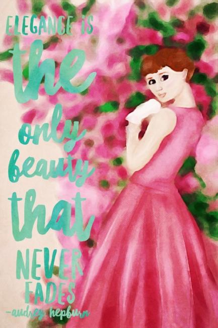 Audrey Hepburn wordart watercolor