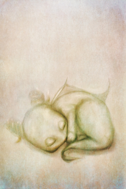 Sleeping Baby Dragon Watercolor