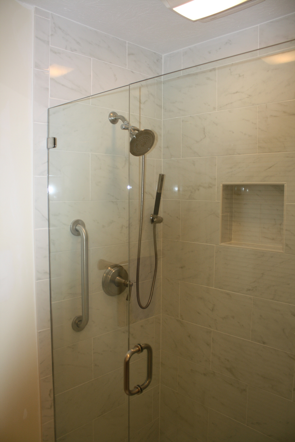 White Marble Shower Area