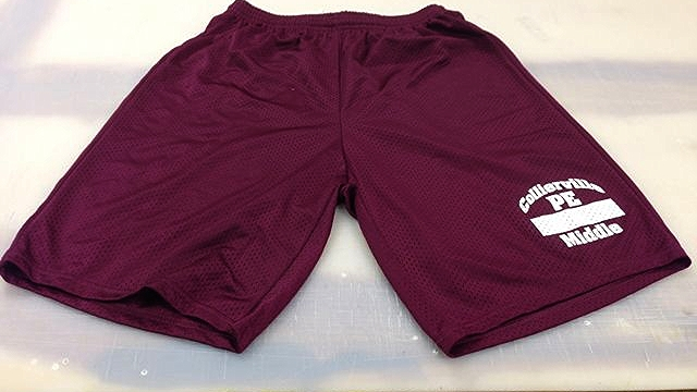 White Print on Maroon Mesh Shorts