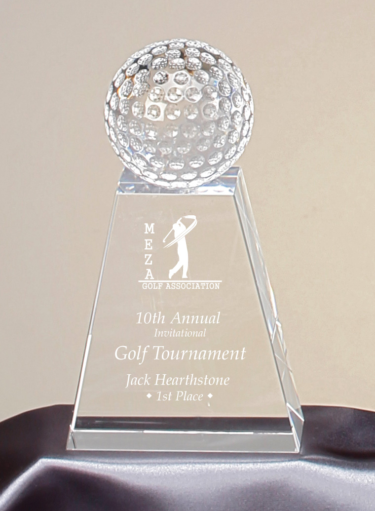 "Crystal Golf Ball Large: 96908 - 7.75"" tall - $113 Medium: 96907 - 6.75"" tall - $103 Small: - 96906 - 5.75"" tall - $93"