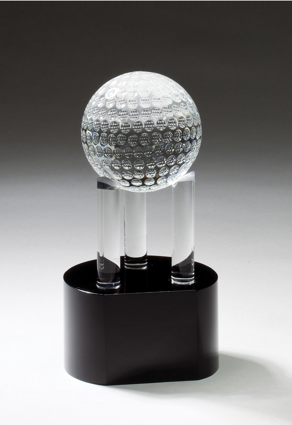 "Crystal Golf Ball on 3 Posts CRY337 - 7.75"" tall x 4"" wide Price = $108"