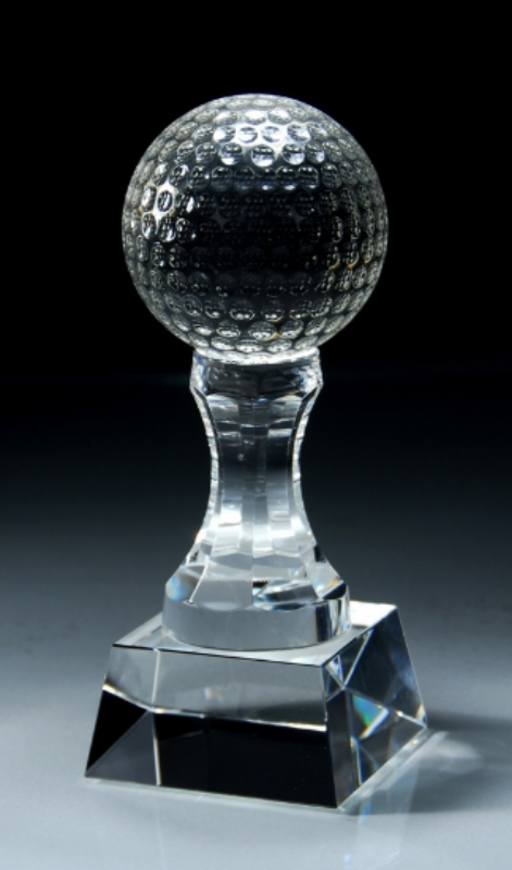 "Crystal Golf Ball on Tee Large: CRY151 - 7.75"" tall x 3.25"" wide - $116 Medium: CRY150 - 6"" tall x 2.5"" wide - $79"