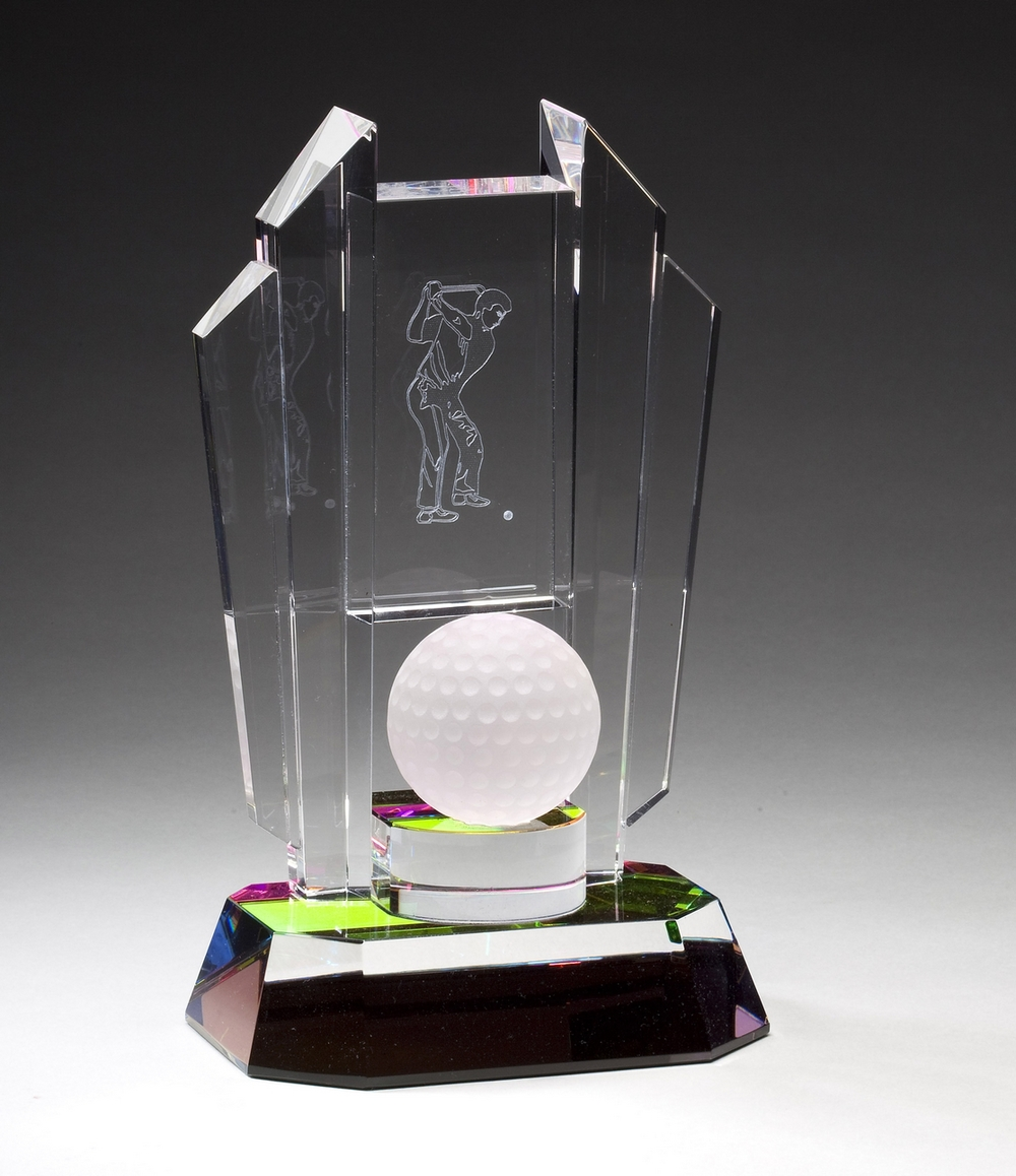 "Optical Crystal with Frosted Golf Ball Large: CRY356 - 8.5"" tall x 4.5"" wide - $100 Medium: CRY355 - 7.5"" tall x 4"" wide - $76 Small: CRY354 - 6"" tall x 3.5"" wide - $67"