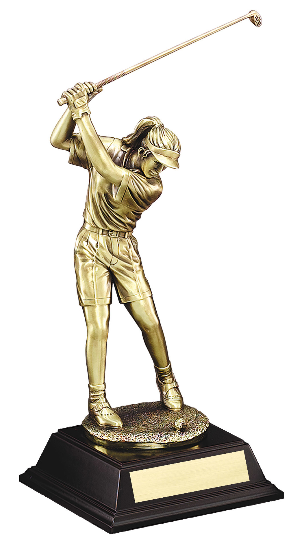 "Gold Metallic Resin - Driver, Female: X-Large: G2694 - 19"" tall - $81 Large: G2693 - 15.5"" tall - $68 Medium: G2692 - 12.5"" tall - $50 Small: G2691 - 10"" tall - $38"