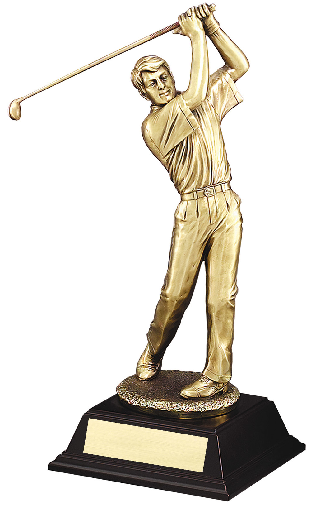 "Elegant Gold Metallic Resin -Swing, Male Large: G2703 - 16"" tall - $102 Medium: G2702 - 13"" tall - $68 Small: G2701 - 10"" tall - $38"