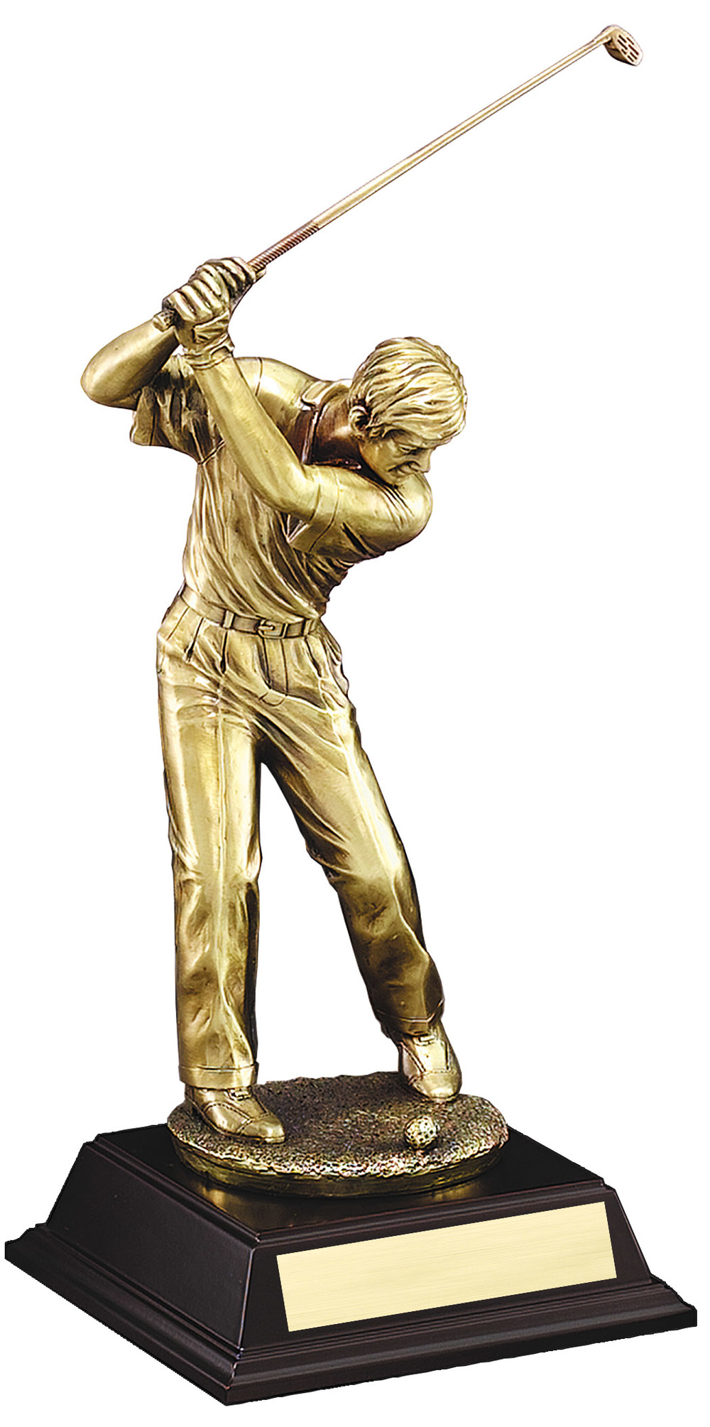 "Gold Metallic Resin - Driver, Male: X-Large: G2684 - 20"" tall - $82 Large: G2683 - 16.5"" tall - $69 Medium: G2682 - 13"" tall - $56 Small: G2681 - 10"" tall - $41"