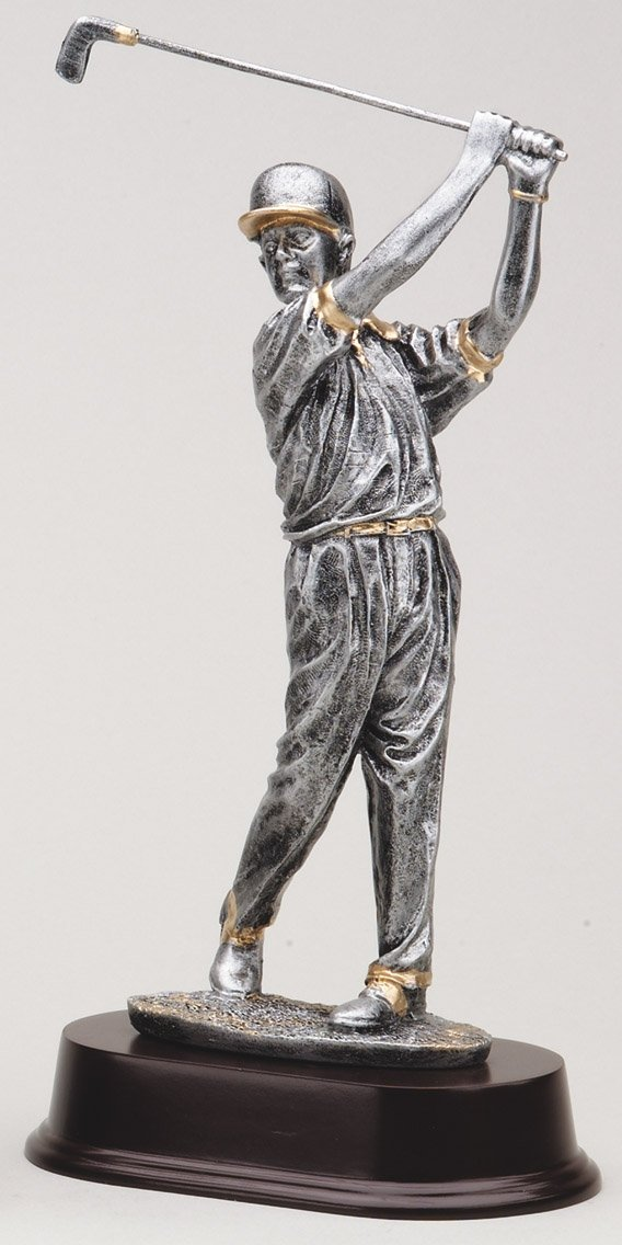 "Pewter Finish -Swing, Male with Cap X-Large: RF2053SG - 12"" tall - $29 Large: RF2052SG - 10.5"" tall - $27 Medium: RF2051SG - 10"" tall - $25"