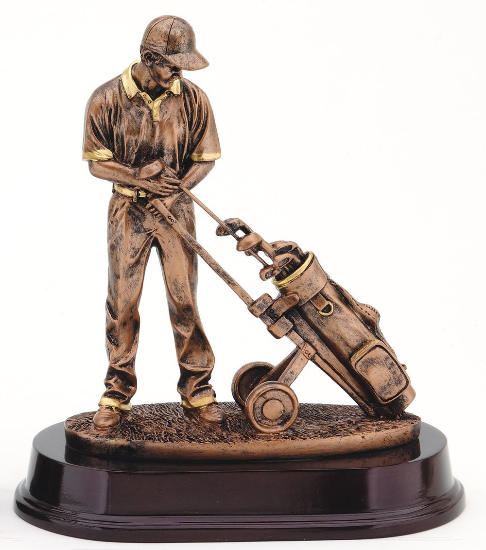 "Bronze Finish - Golfer & Pull Cart RFMP101B - 9"" tall Price = $45"