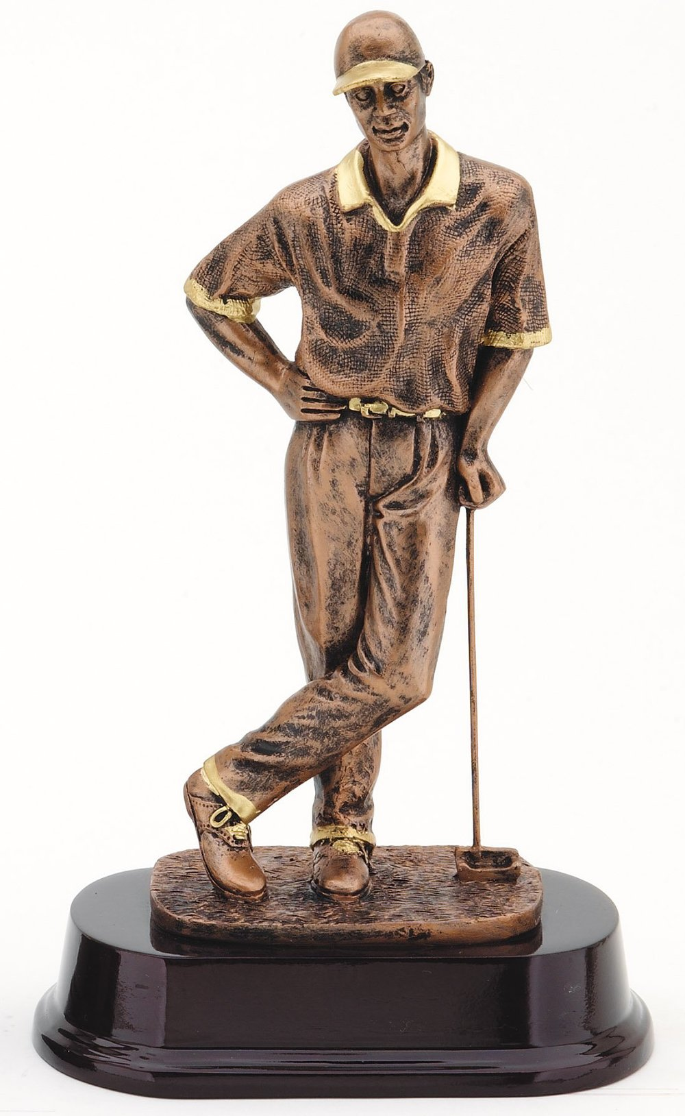 "Bronze Finish - Golfer with cap RX583B - 10"" tall Price = $31"