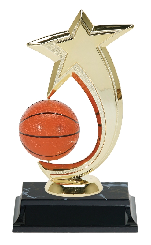 "Shooting Star Spinner   47505-G - 6"" tall - with Spinning Basketball  Shown on Base"