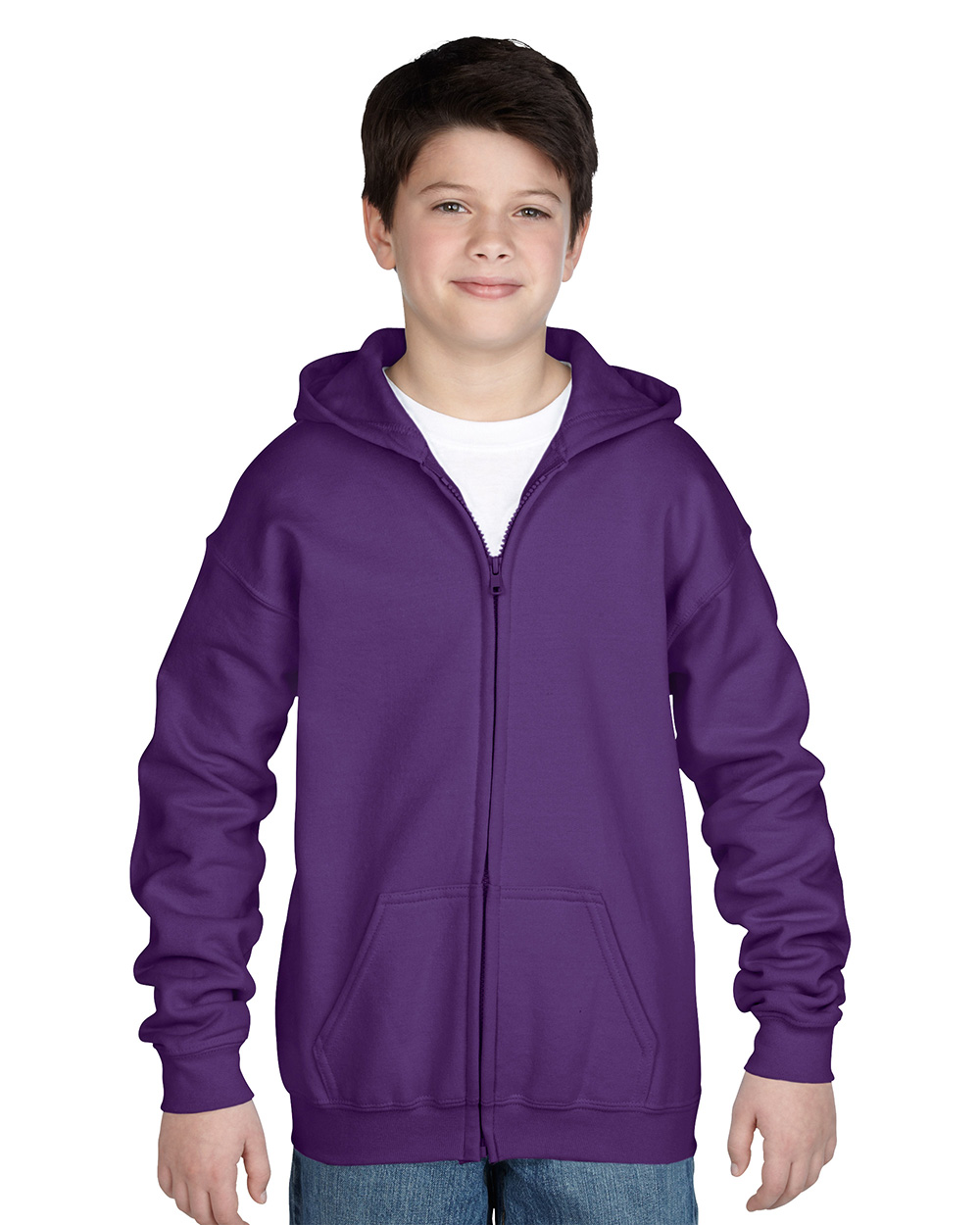 Gildan 18600B     Classic Fit Youth Full Zip Sweatshir  t    50% Cotton / 50% Polyester Fleece