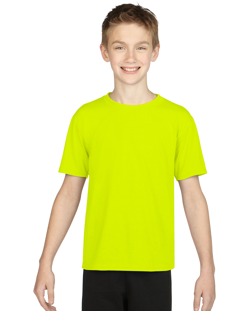 Gildan 42000B     Youth Performance     4.5 oz. 100% Polyester (Cotton Feel)