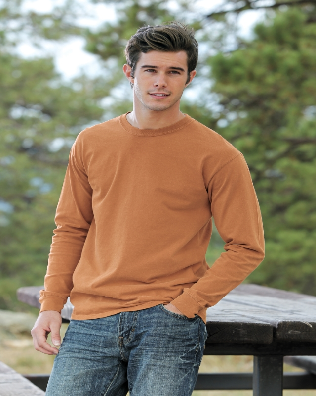Comfot Colors 6014     Soft Washed Adult Long Sleeve T-Shirt    6.1 oz. Ring Spun Cotton