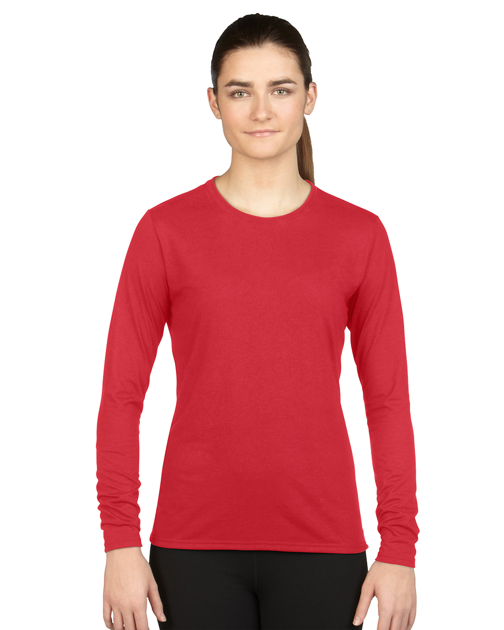 Gildan 42400L     Ladies Long Sleeve Performance     4.5 oz. 100% Polyester( Cotton Feel)