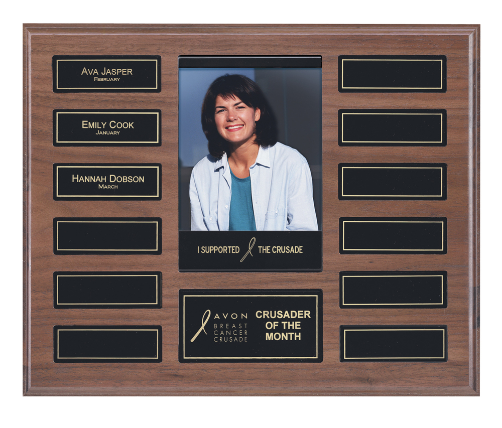 "Perpetual Plaque with Photo - APT205D-BK   10.5"""" x 13"" with 12 plates (1"" x 3"") - Walnut Finish   Price = $125  (Includes all engraving on initial order)"