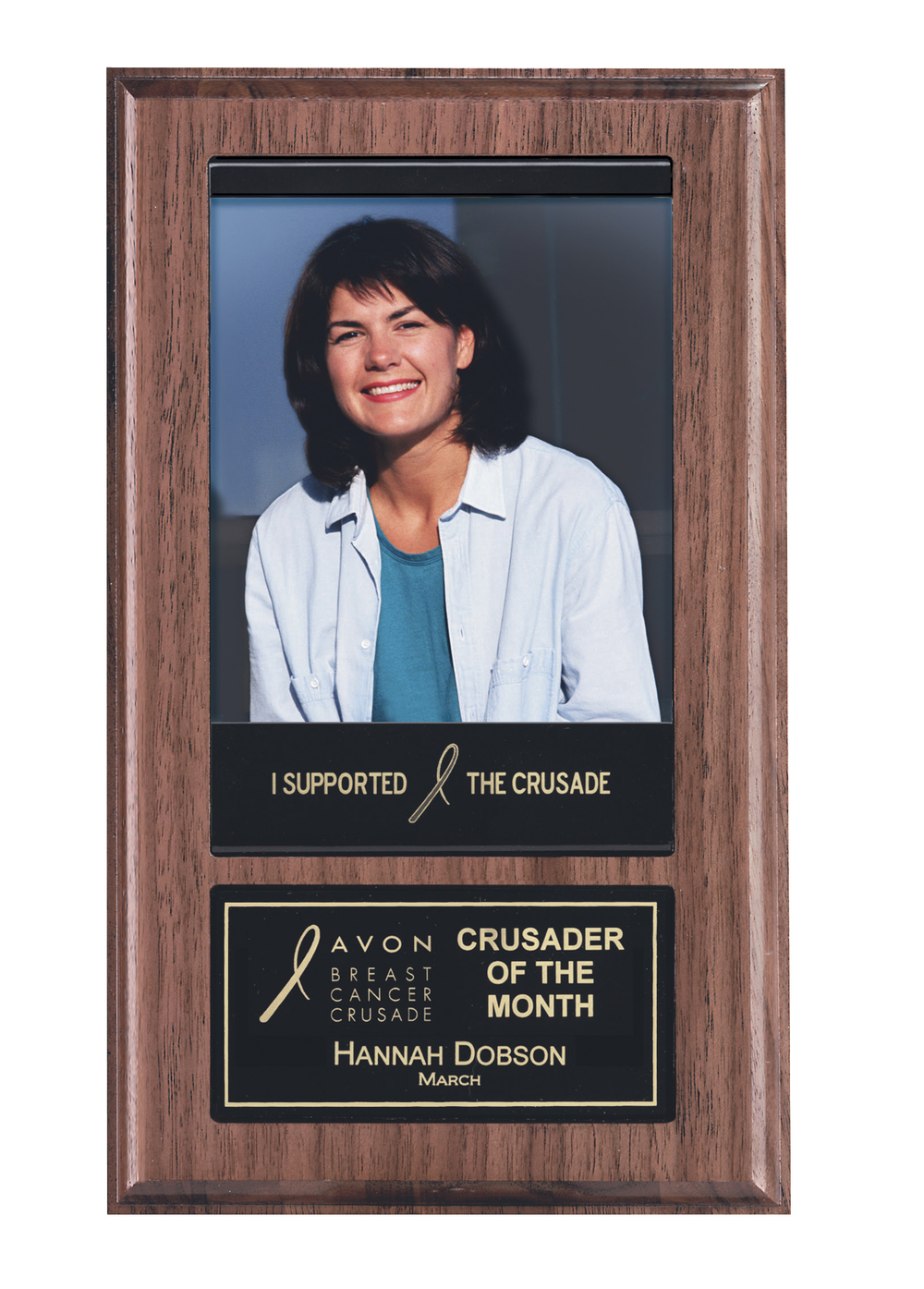 "6"" x 10"" Photo Plaque - APT205B-BK   Walnut Finish   Price = $56"