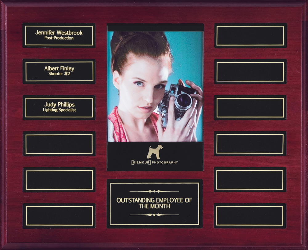 "Perpetual Plaque with Photo - APT215D-BK   10.5"""" x 13"" with 12 plates (1"" x 3"") - Mahogany Finish   Price = $125  (Includes all engraving on initial order)"