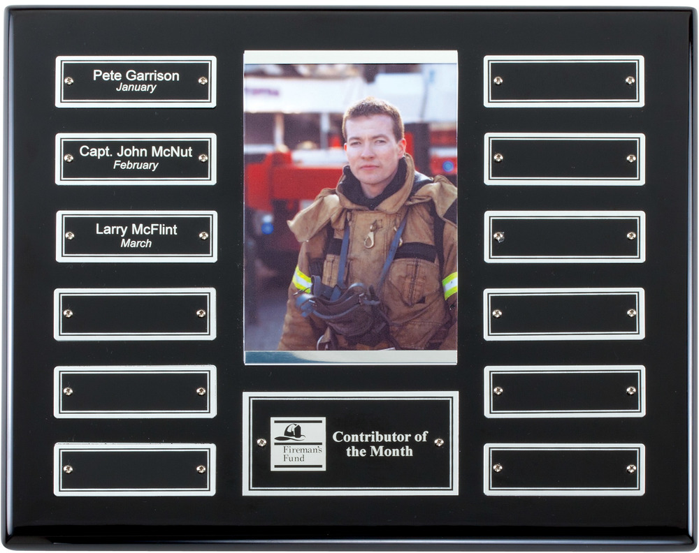"Perpetual Plaque with Photo - APT515D-S   10.5"""" x 13"" with 12 Silver trim plates (1"" x 3"") - Ebony Piano Finish   Price = $135  (Includes all engraving on initial order)"