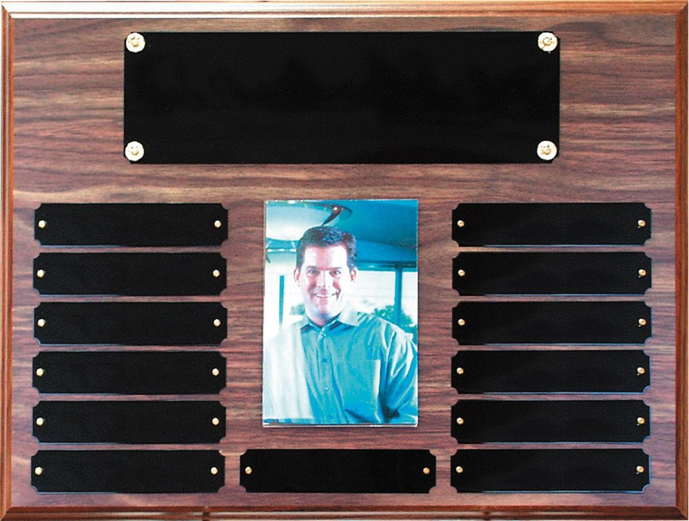 "Perpetual Plaque with 3.5"" x 5"" photo - P1063   12"" x 16"" with 13 black brass plates - Walnut Finish   Price = $100  (Includes all engraving on initial order)"