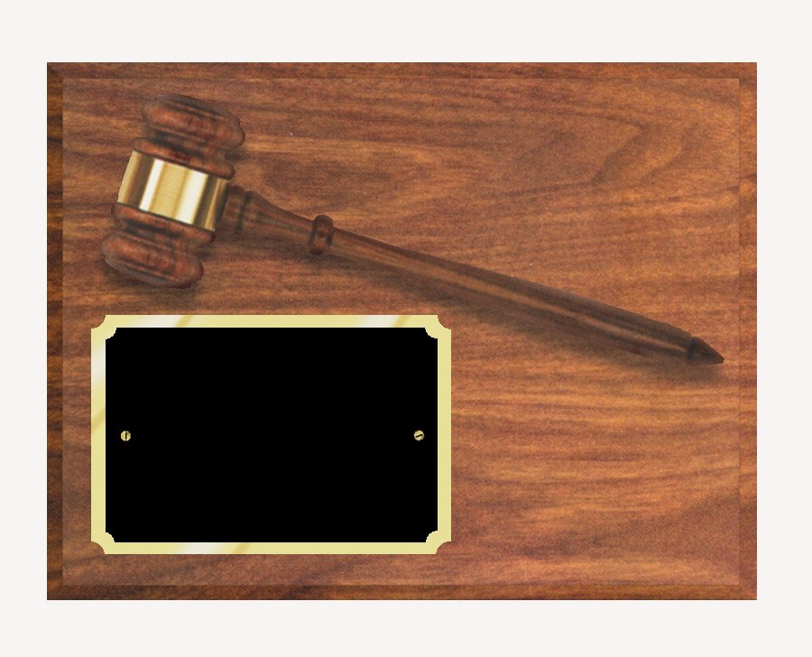 "AGP-10 - Walnut Finish    Solid Walnut Gavel   Plaque size: 9"" x 12""   Price = $80  (Includes engraved plate)"