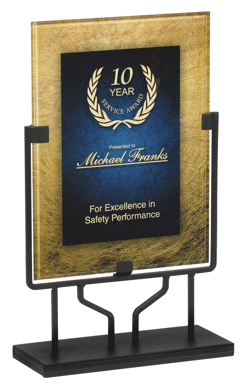 "Gold & Blue - Standing Plaque   Acrylic is 8.75"" x 11.75"" - PLX800H-C  Overall Height - 15"" tall   Price = $114"