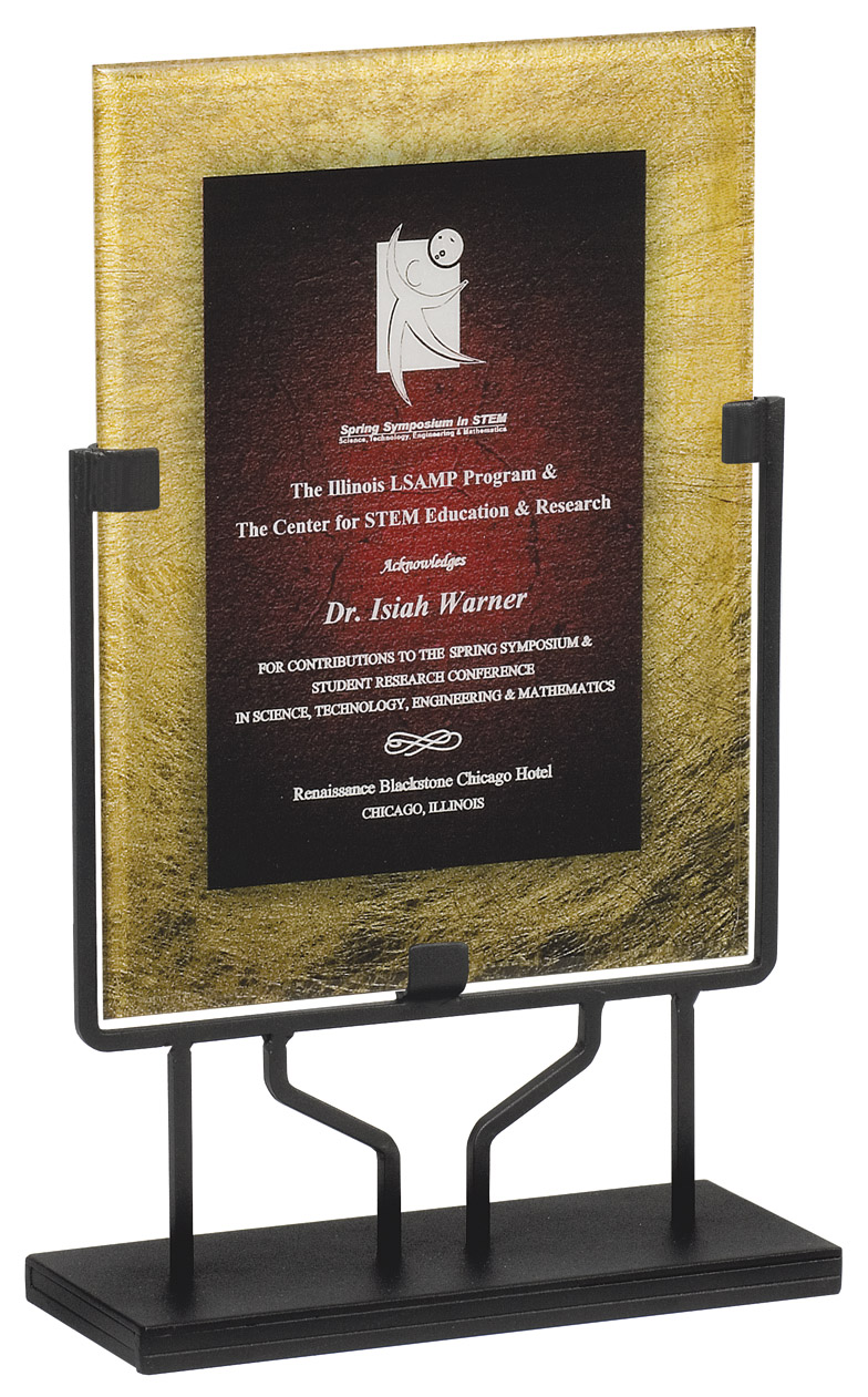 "Gold & Sienna - Standing Plaque   Acrylic is 8.75"" x 11.75"" - PLX801H-C  Overall Height - 15"" tall   Price = $114"