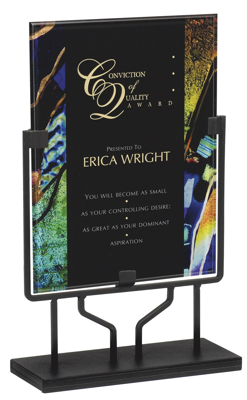 "Blue Art Deco - Standing Plaque   Acrylic is 8.75"" x 11.75"" - PLX802H-C  Overall Height - 15"" tall   Price = $114"