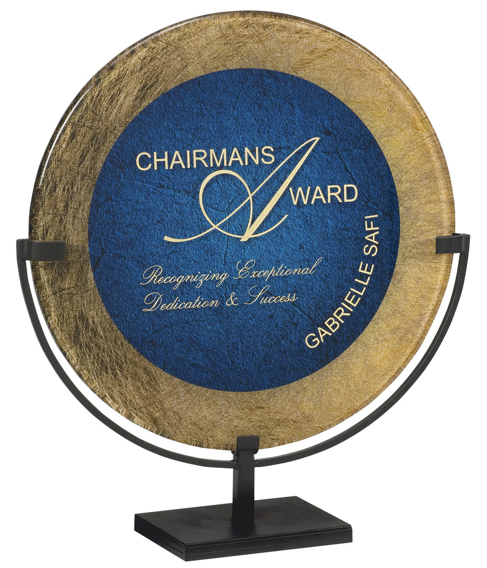 "Gold & Blue - Round Standing Plaque   15"" in diameter - PLX800RH-E - (Overall 18"") -  $193   11"" in diameter - PLX800RH-C - (Overall 14"") -  $121"