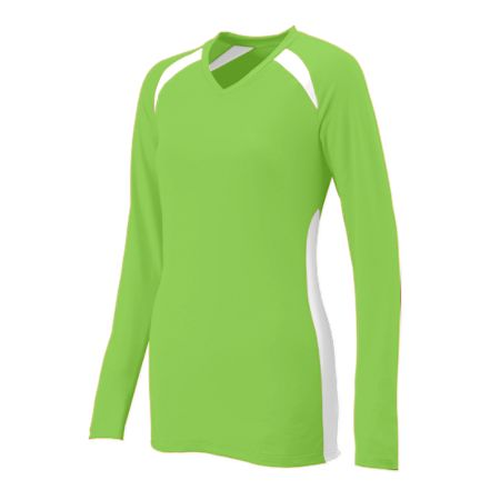 Augusta 1305     Ladies Long Sleeve Volleyball Jersey    92% Polyester/8% Wicking Pinhole Mesh