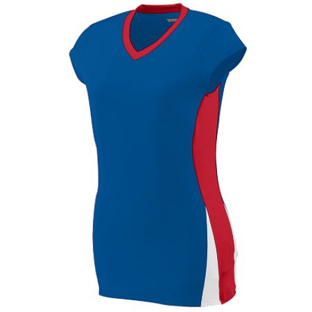 Augusta 1310/1311     Ladies/Girls Cap Sleeve Volleyball Jersey    92% Polyester/8% Spandex Wicking Pinhole Mesh