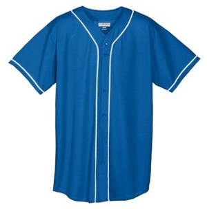 Augusta 593/594     Adult/Youth Full Button Baseball Jersey    100% Polyester Wicking Mesh