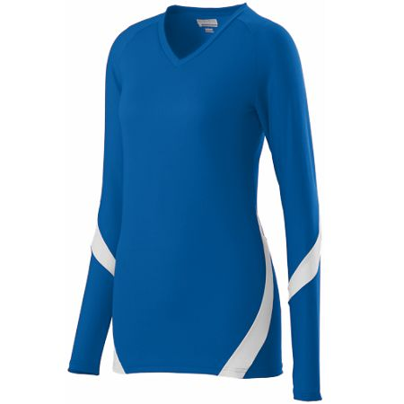 Augusta 1325/1326     Ladies/Girls Long Sleeve Volleyball Jersey    92% Polyester/8% Spandex Wicking Pinhole Mesh