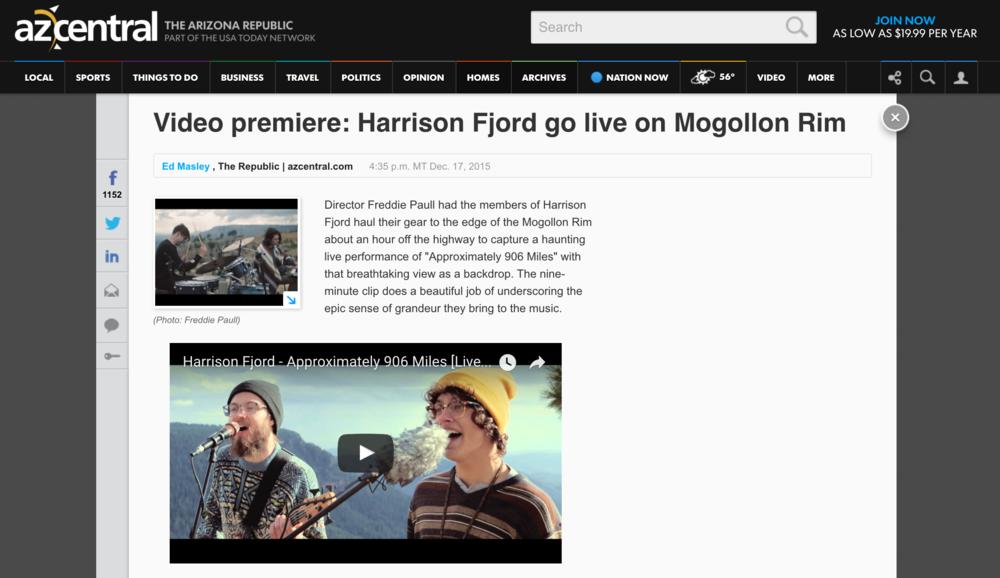 AZ Central - Harrison Fjord Premiere