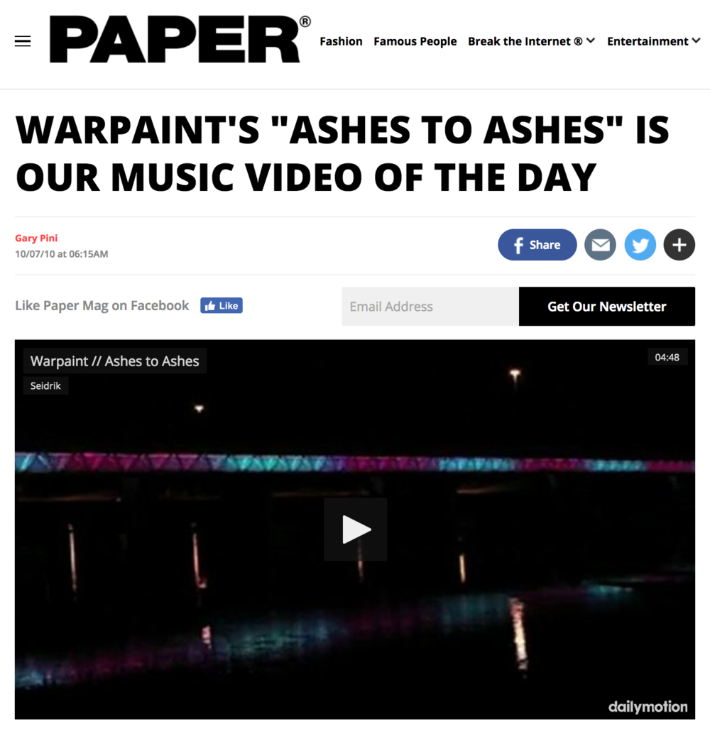 Papermag - Warpaint - Ashes to Ashes