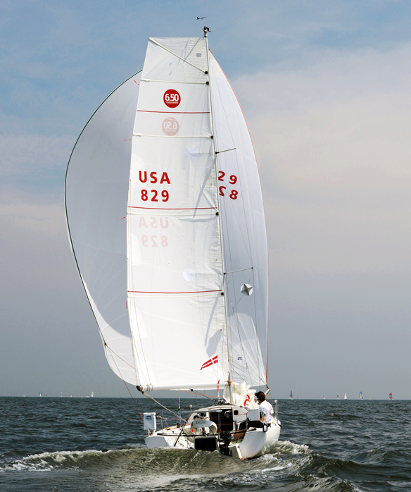 Abilyn (USA 829) under full kite heading out of Long Island Sound in the 2013 Vineyard Race.