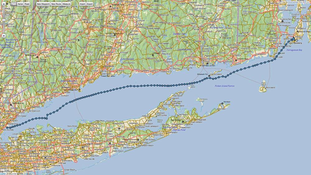 Larchmont, NY to Newport, RI.