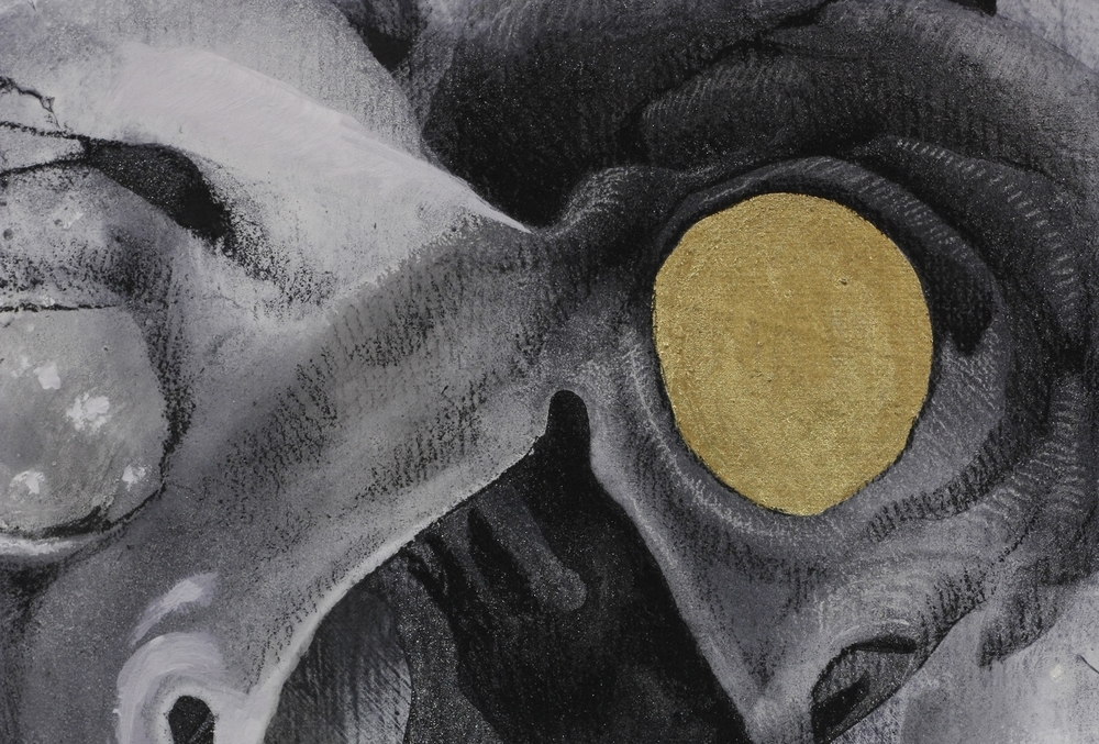 Watcher K  nown  ,    (detail) charcoal, tempera, acrylic, gold leaf   on canvas
