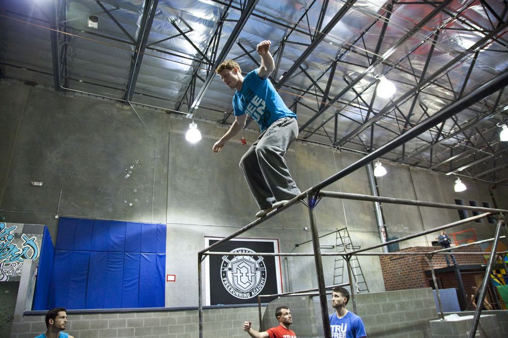 Muscle and Fitness Magazine on location at Tempest Freerunning Academy ca.2012