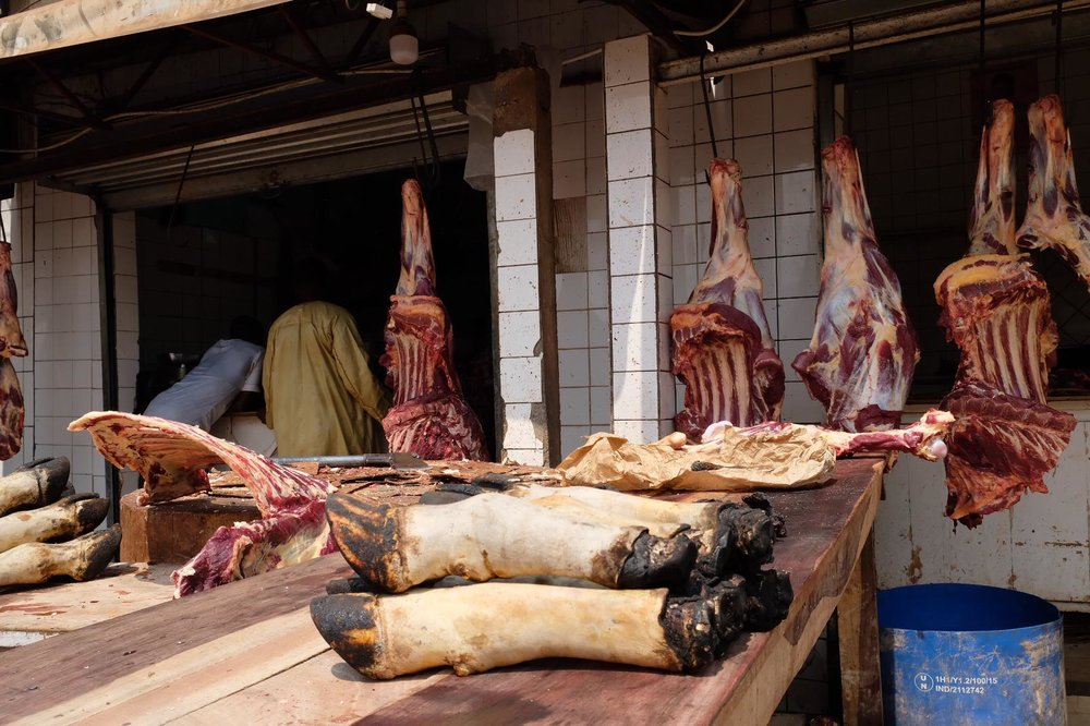 An unrefrigerated meat market in Cameroon (Photo by Siobhán O'Grady)
