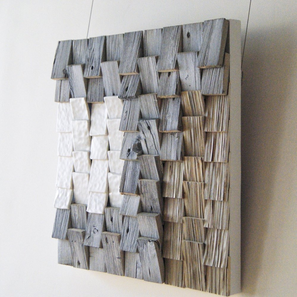 """Sense""  Driftwood, Ceramic, Palm thatch"
