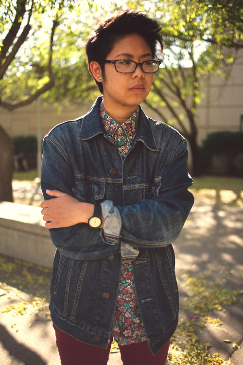 Levis Denim Jacket  S/S Repeated Leaves Henley/Button up, found at Thrift Town  Casio Watch   H&M Burgundy Skinny Pants