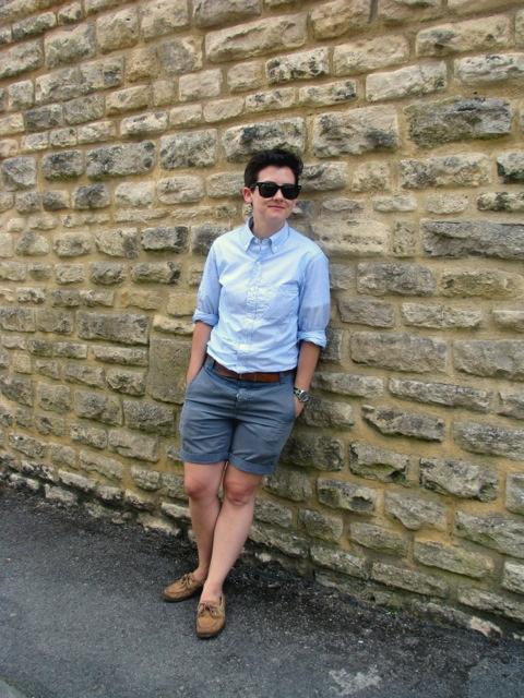 Sunglasses: Ray Ban Wayfarers Shirt: J.Crew slim lightweight shirt in pencil stripe Watch: Timex Military Watch (via J.Crew) Belt: Everlane Essential Belt Shorts: Topman Shoes: Sperry Top-Siders Submitted by Kristen:kindahectic.tumblr.com Submit to the Qwear!