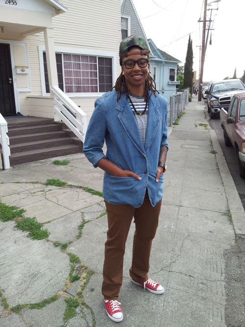 Denim blazer: Thrifted, Goodwill Colored pants: H&M Striped tee: Target, Men's Sneakers: Converse, Zappos Watch: Unlisted by Kenneth Cole, K&G Stores Necklace: Gifted Strapback: New Era, Lids Submitted by: whoisthatgirlmo.tumblr.com  whoisthatgirlmo.blogspot.com Submit toQwear!