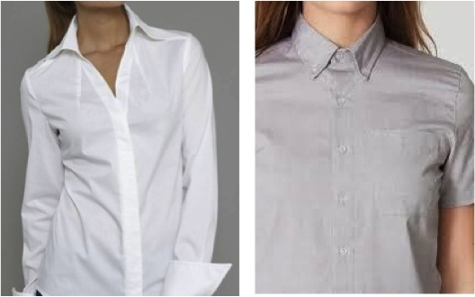 (left) Sharp V Neck, Open Collar Shirt, Madelena, by The Shirt Company