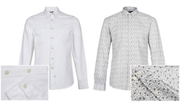 (Left) Topman White Classic Long Sleeve Shirt* (Right) Selected Homme Print Shirt*