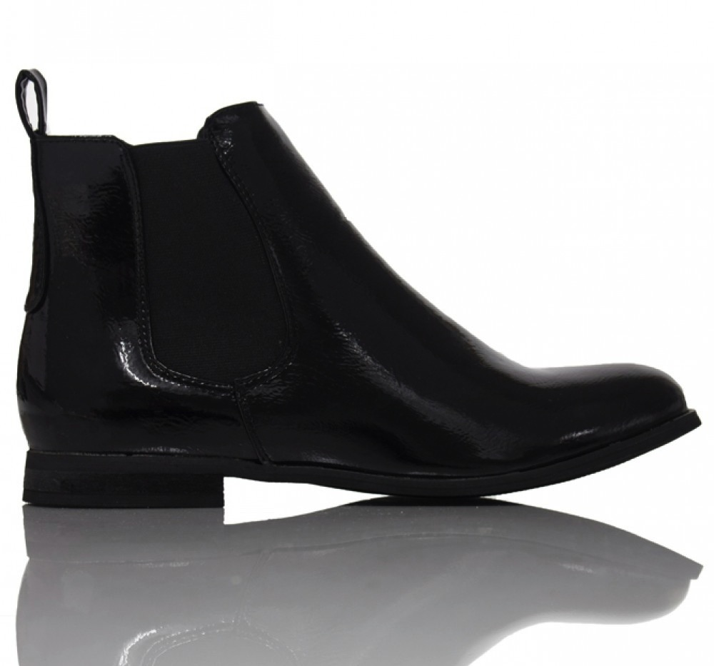 Cheska Classic Chelsea Boot in Patent Black, $42.36 at  Daisy Street
